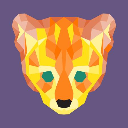 lurk: Orange and yellow low poly ocelot. Geometric simple art Illustration
