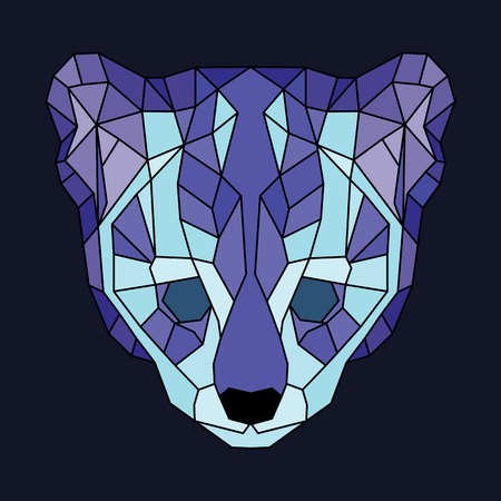 Blue and violet lined low poly ocelot. Geometric simple art