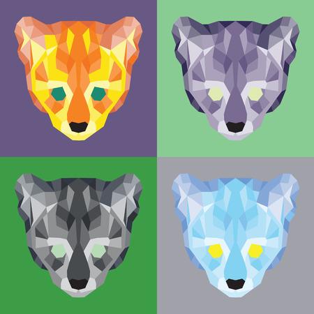 prowl: Low poly ocelots set. Geometric simple art Illustration