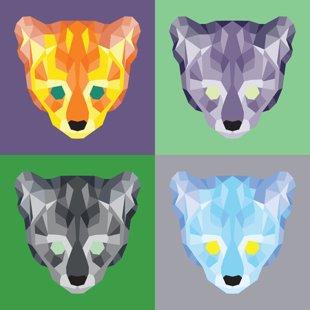Low poly ocelots set. Geometric simple art Illustration