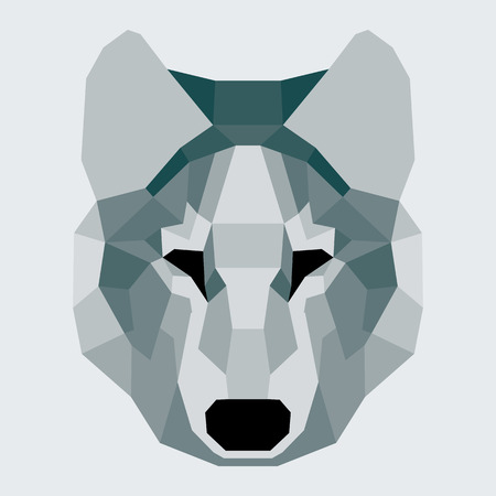 Dark green low poly wolf. Geometric flat art Ilustrace