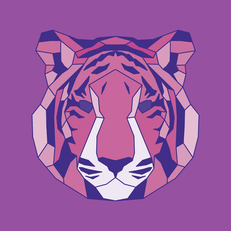 triangular eyes: Pink lined low poly tiger. Vice geometric art