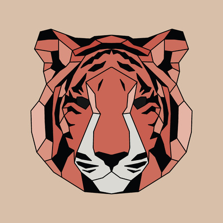 triangular eyes: Red lined low poly tiger. Vice geometric art Illustration
