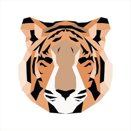 triangular eyes: Orange low poly tiger. Vice geometric art Illustration