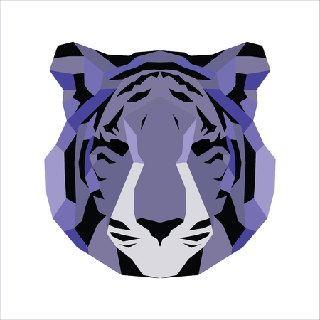 vice: Violet low poly tiger. Vice geometric art