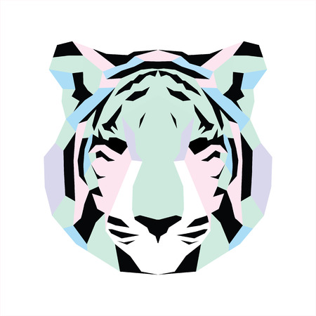 triangular eyes: Pastel low poly tiger. Vice geometric art Illustration