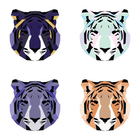 triangular eyes: Low poly tigers set. Simple geometric art