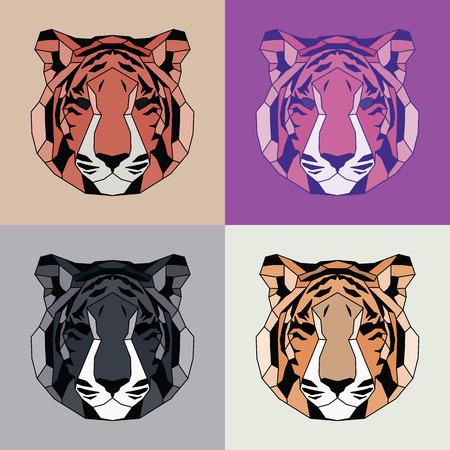 triangular eyes: Low poly lined tigers set. Geometric art Illustration