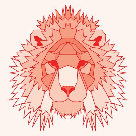 royal safari: Orange low poly lined lion. Geometric nice art