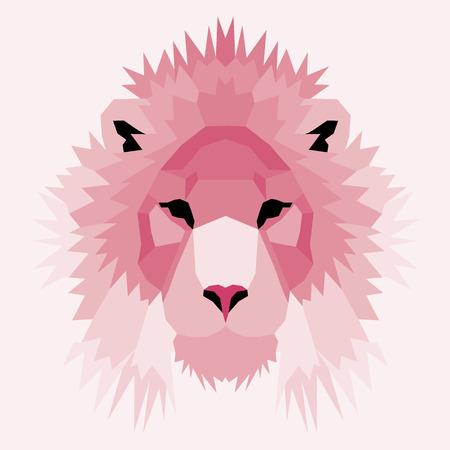 royal safari: Pink low poly lion. Geometric nice art