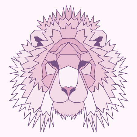 royal safari: Pink low poly lined lion. Geometric nice art