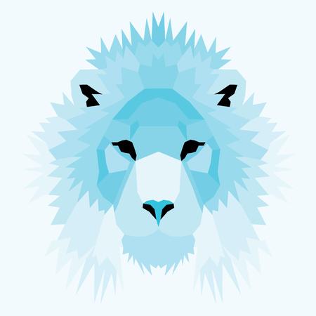 royal safari: Blue low poly lion. Geometric nice art Illustration