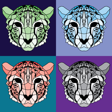 Low poly lined cheetah set. Nice geometric art
