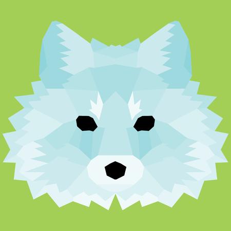 Blue low poly fox. Nice geometric art