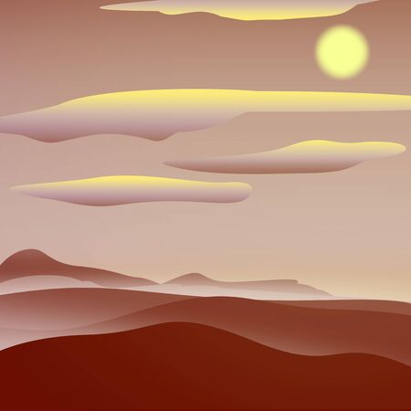 sand dunes: Warm red sunny landscape. Simple and nice illustration
