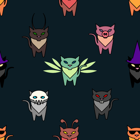 hallowen: Cute Hallowen cats on the green background. Simple and nice illustration