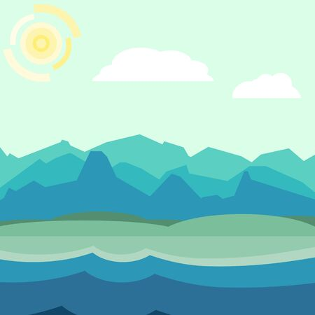 hilly: Blue and green morning landscape. Flat, simple and nice illustration Illustration