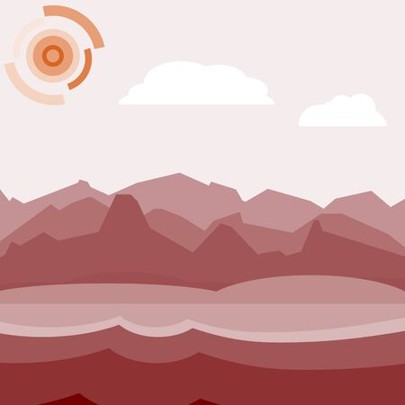hilly: Red morning landscape. Flat, simple and nice illustration