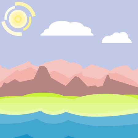 lake shore: Pink an blue morning landscape. Flat, simple and nice illustration