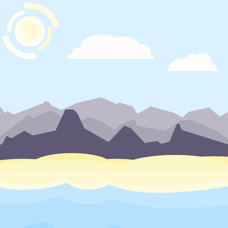 hilly: Violet and blue morning landscape. Flat, simple and nice illustration