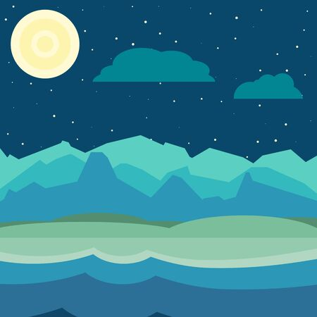 Blue and green night landscape. Flat, simple and nice illustration Ilustração