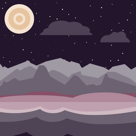 hilly: Purple and pink night landscape. Flat, simple and nice illustration