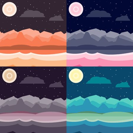 Night landscapes set. Flat, simple and nice illustration