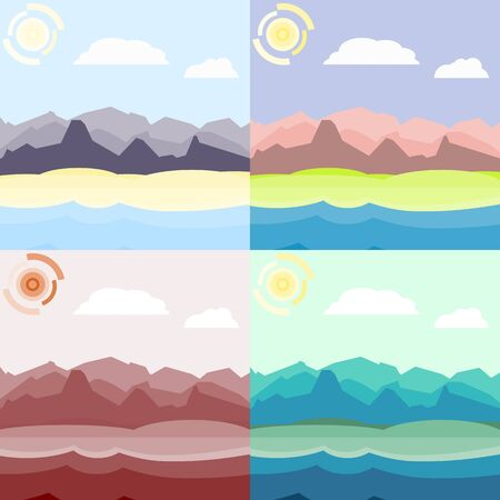 hilly: Morning and day landscapes set. Flat, simple and nice illustration