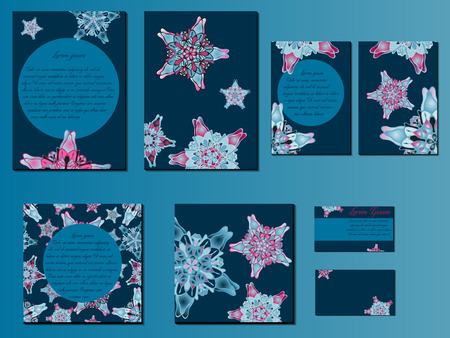 starlike: Blue and pink star-like designed brochures, business cards and invitations. Nice hand-drawn illustration