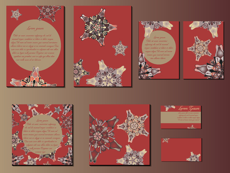 starlike: Brown and red star-like designed brochures, business cards and invitations. Nice hand-drawn illustration