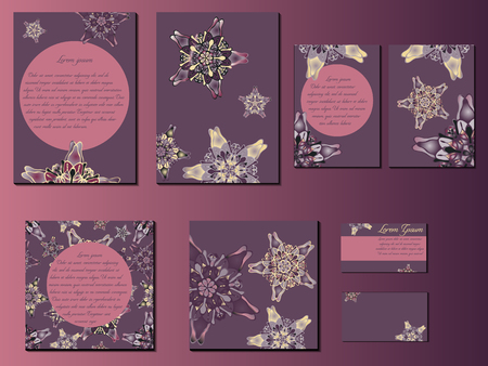 starlike: Purple star-like designed brochures, business cards and invitations. Nice hand-drawn illustration Illustration