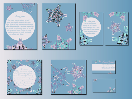 starlike: Blue star-like designed brochures, business cards and invitations. Nice hand-drawn illustration