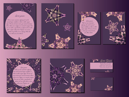 starlike: Pink and purple star-like designed brochures, business cards and invitations. Nice hand-drawn illustration