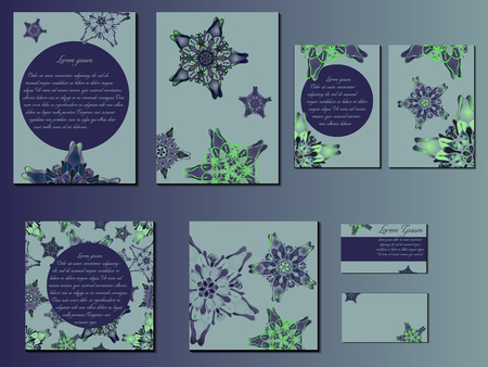 starlike: Blue and green star-like designed brochures, business cards and invitations. Nice hand-drawn illustration