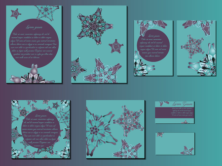 starlike: Green and violet star-like designed brochures, business cards and invitations. Nice hand-drawn illustration