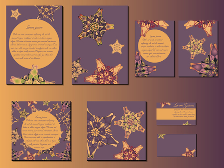 starlike: Violet and orange star-like designed brochures, business cards and invitations. Nice hand-drawn illustration Illustration