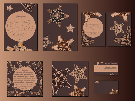 starlike: Brown star-like designed brochures, business cards and invitations. Nice hand-drawn illustration Illustration