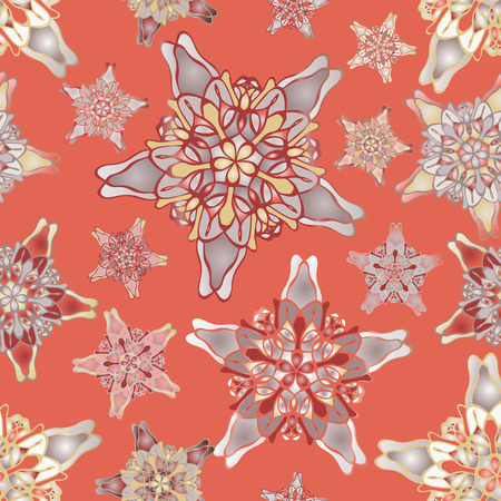 starlike: Orange star-like seamless pattern. Nice hand-drawn illustration