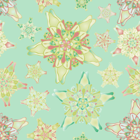 starlike: Pastel green and yellow star-like seamless pattern. Nice hand-drawn illustration Illustration
