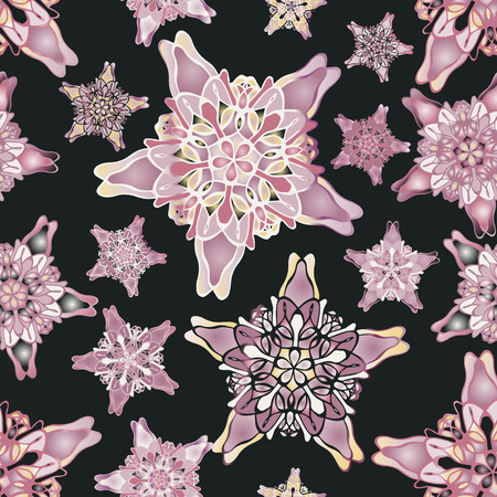 starlike: Pink and beige star-like seamless pattern. Nice hand-drawn illustration