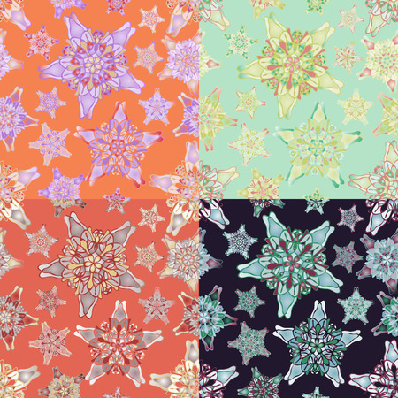 starlike: Set of star-like seamless patterns. Nice hand-drawn illustration Illustration