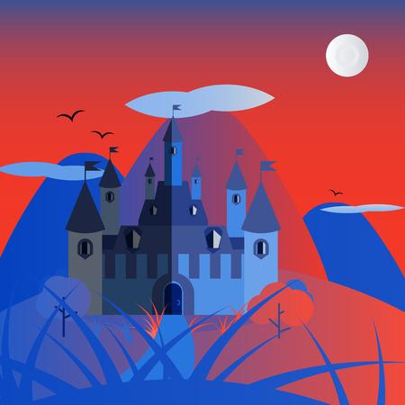 royal house: Orange and blue night castle landscape. Nice and simple illustration
