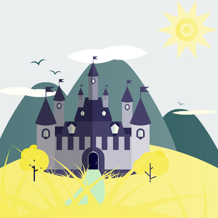 Green and yellow day castle landscape. Nice and simple illustration