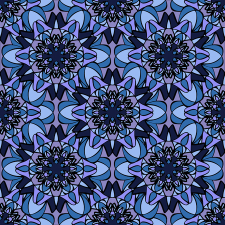 Elegant seamless pattern with Mandala-like elements. Nice and colorful vector illustration