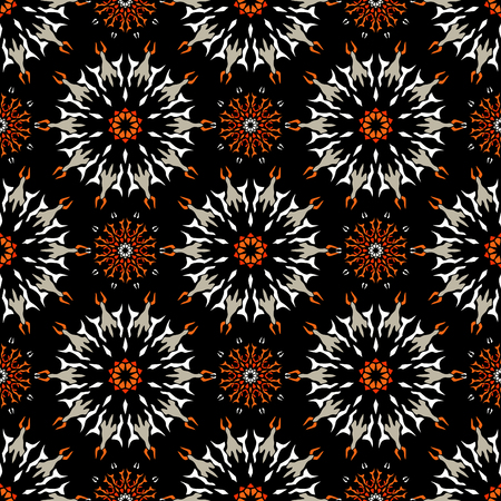 Elegant seamless pattern with Mandala and floral elements.Nice hand-drawn illustration