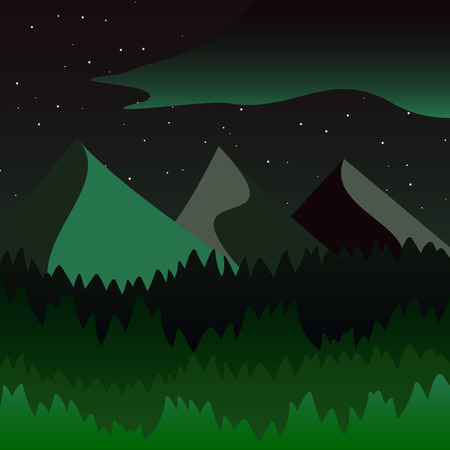 geological: Beautiful mountains and forest landscape. Nice vector illustration