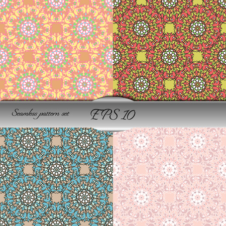 Set of four elegant seamless patterns. Nice hand drawn vector illustration