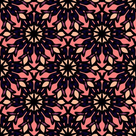Elegant seamless pattern with Mandala and floral elements. Nice hand-drawn illustration Illustration