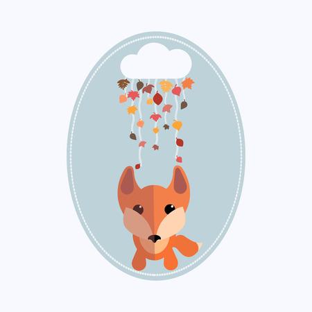 Fox and cloud autumn illustration. Nice vector artwork Illustration