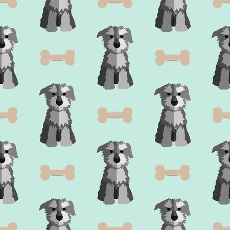schnauzer: Cute schnauzer seamless pattern. Nice hand-drawn illustration
